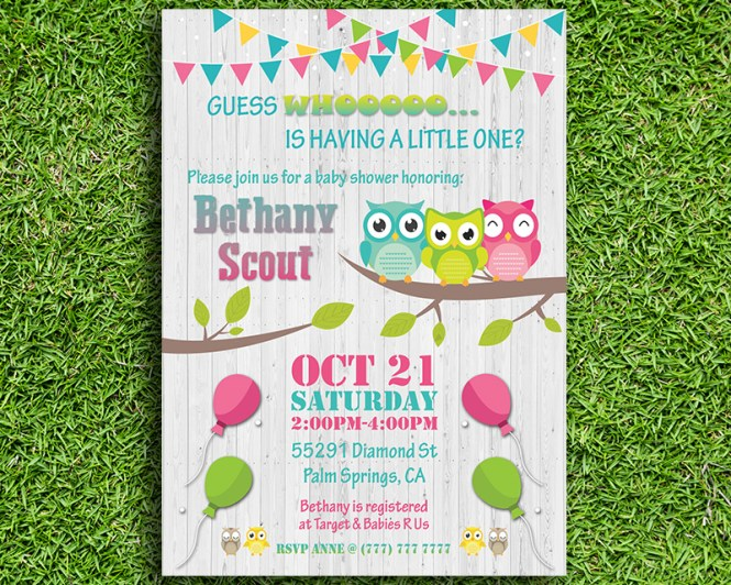 Owl Themed Printable Baby Shower Invitation