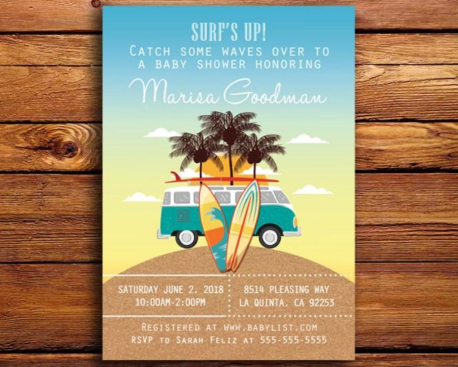 Surfing Beach Themed Baby Shower Invitation
