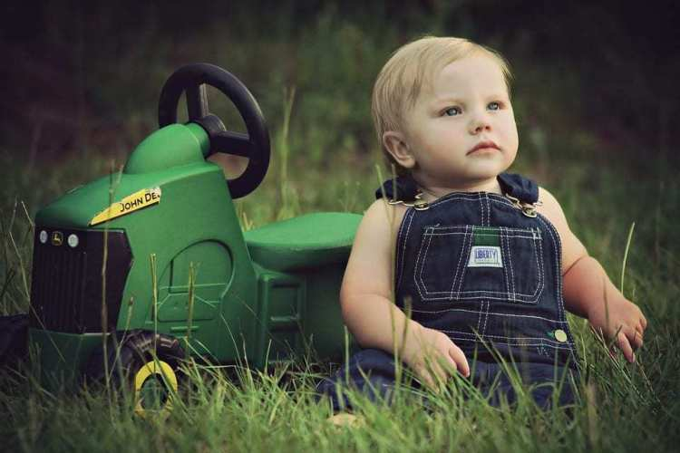 baby and tractor