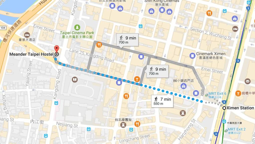 Meander Taipei Hostel Map
