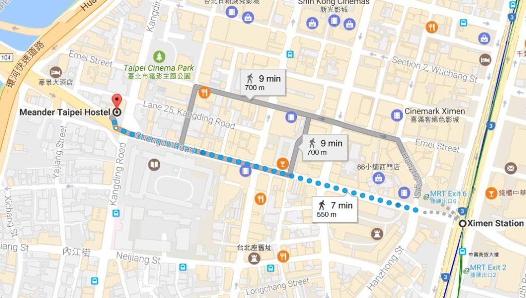 Meander Taipei Hostel Map