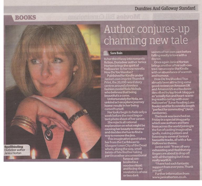 Dumfries and Galloway Standard with author Janice Horton