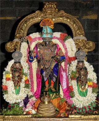 Parthasarathy with his consort Rukmini and Brother Balarama