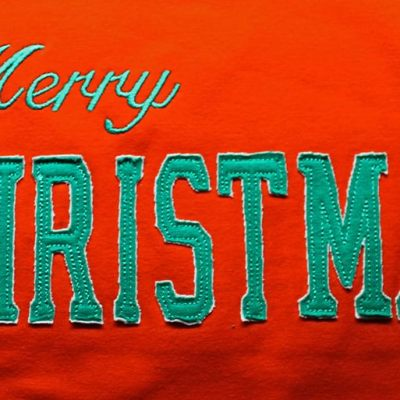 Merry Christmas stitching and applique