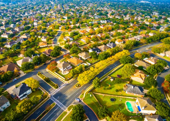 Birds Eye View Suburbia Homes Austin Texas Sunset
