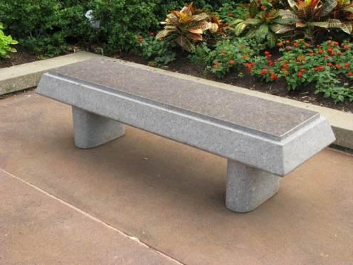 stone bench on patio