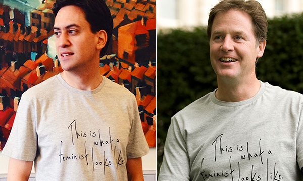 Milliband and Clegg in Feminist tshirts