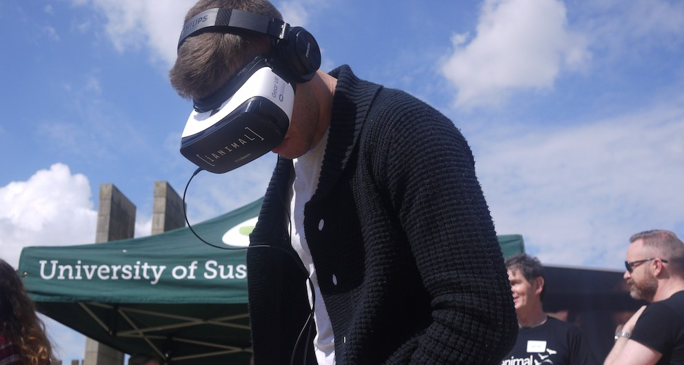 Student wearing iANIMAL virtual reality headset