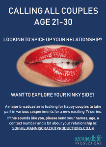 Couples wanted for 'kinky' TV show
