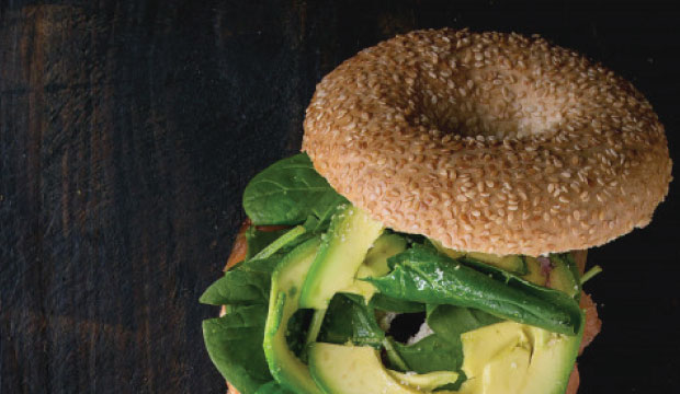 Avocado filled bagel from The Bagel Co Rose Bay