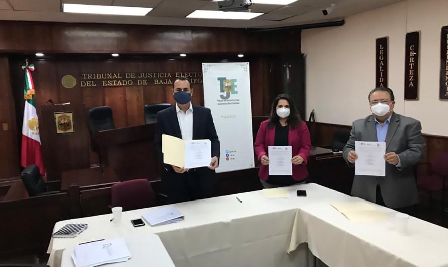 Firman convenio IEE, InmujerBC y TJEBC, para conformar el  Observatorio de Partcipación Ciudadana de las Mujeres