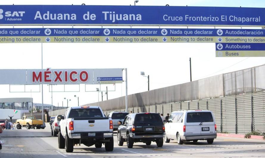 Detienen a cuatro personas en Aduana El Chaparral de Tijuana, intentaban cruzar a México con armas de fuego