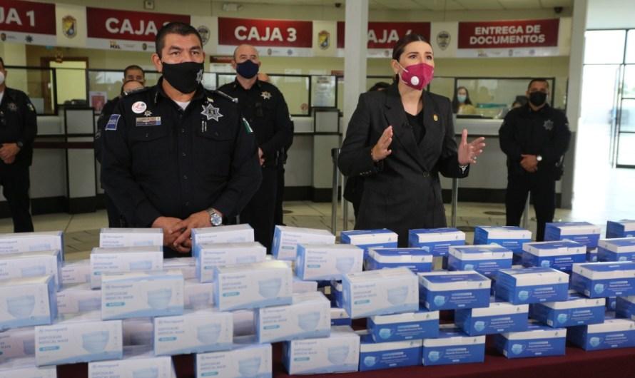 Entrega 100 mil cubrebocas la alcaldesa Marina del Pilar Avila Olmeda para Policías de Mexicali