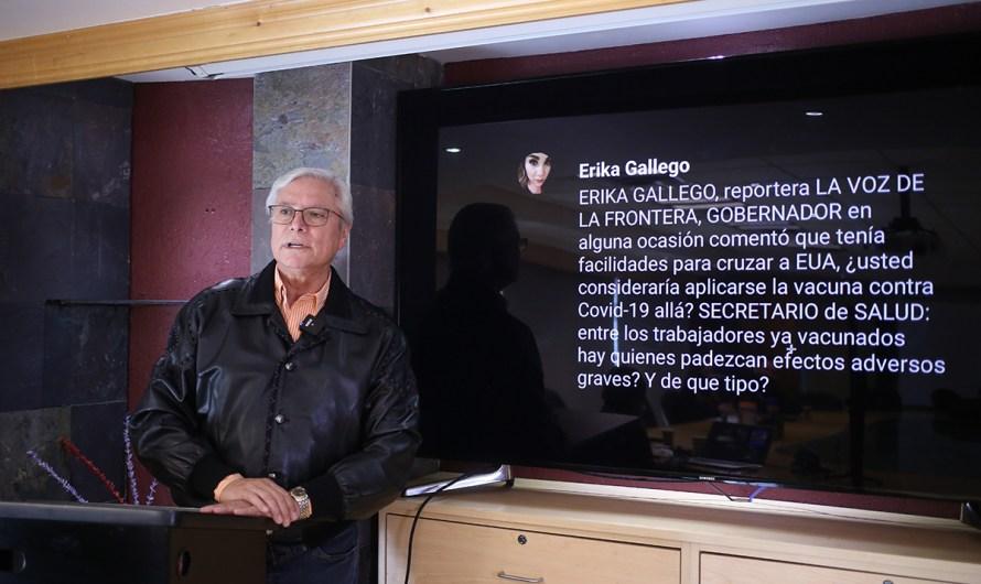"""""""Me vacunaré cuando llegue mi turno, debo poner el ejemplo como Gobernador"""", dijo Jaime Bonilla"""