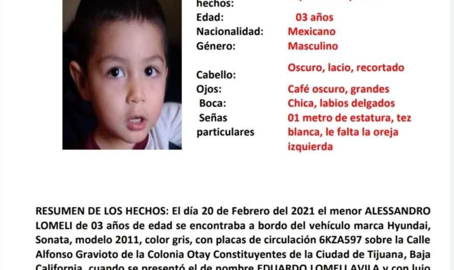 Alerta Amber por menor de edad, de 3 años que despareció en Tijuana