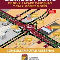 """Ayuntamiento de Mexicali cierra el """"puente pando"""" para revisar su estructura"""