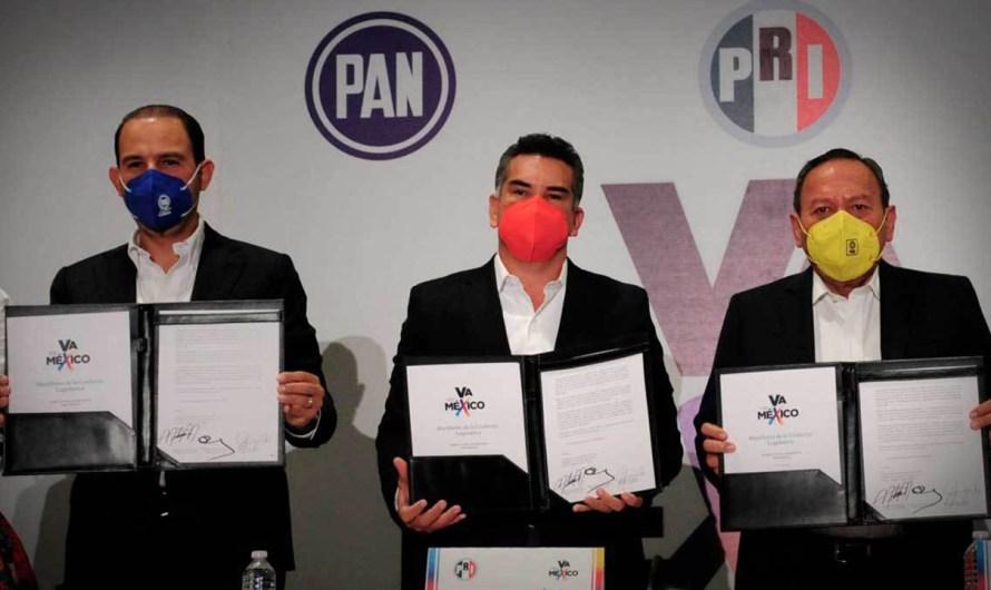 Anuncian PRI-PAN-PRD una alianza legislativa para lograr un equilibrio en la Cámara de Diputados