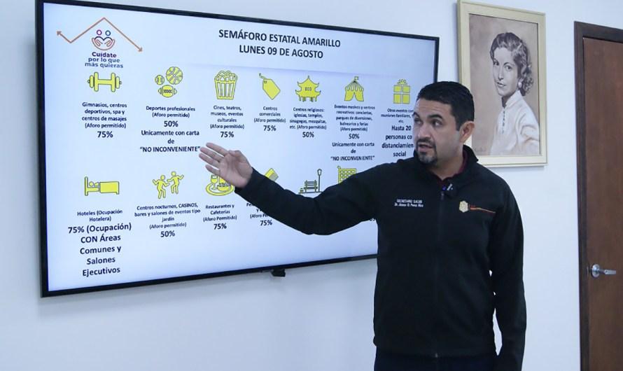 Regresa Baja California al semáforo epidemiológico amarillo, informó el Secretario de Salud Oscar Pérez Rico