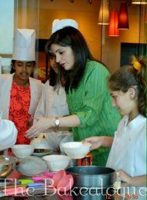Teaching the kids how to bake Zebra Cake