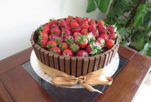 Strawberry Kit Kat cake baked on special request for the birthday girl