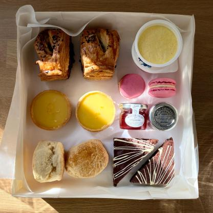 An overhead view of a picnic box for 2