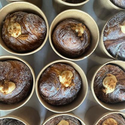 A selection of Biscoff & Coffee Caramel Cruffins