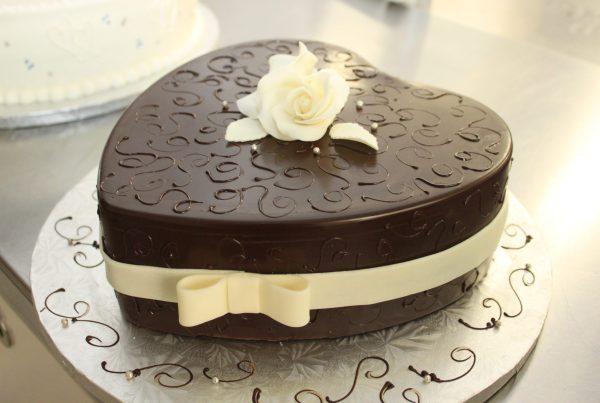 custom chocolate heart cake