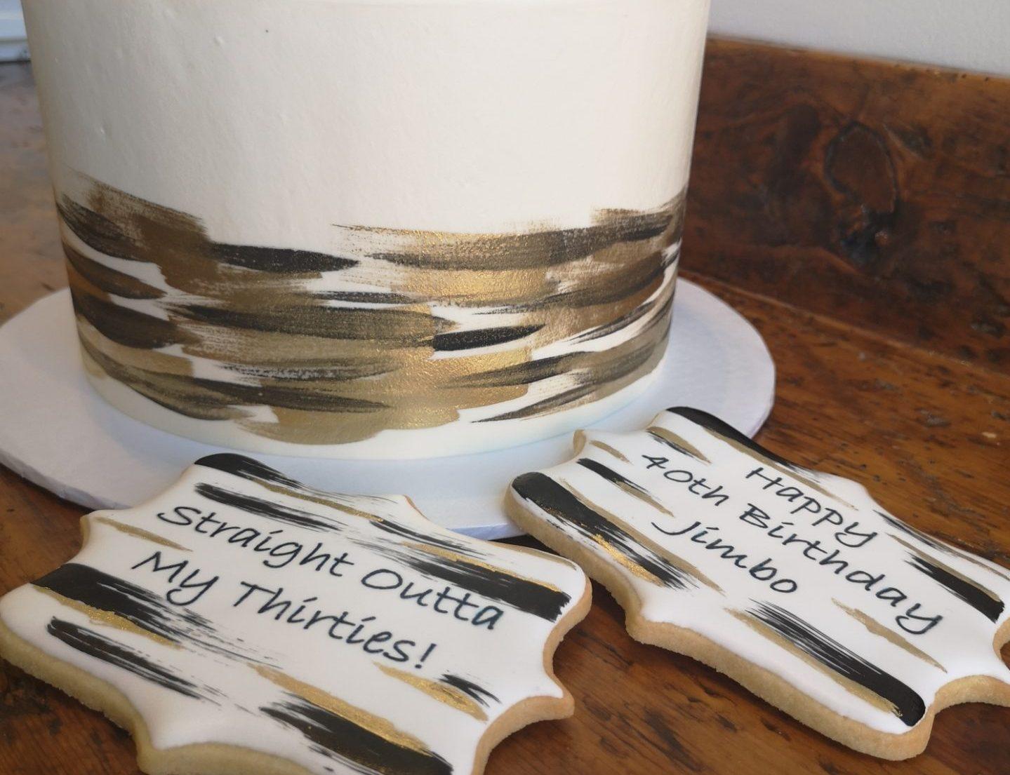 custom men's birthday cake with matching cookies