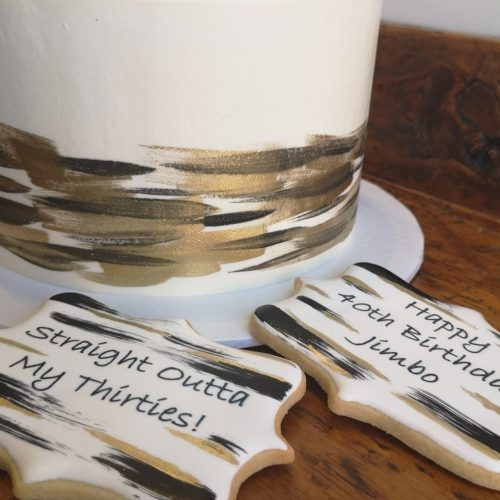 custom men's birthday cake with matching cookies