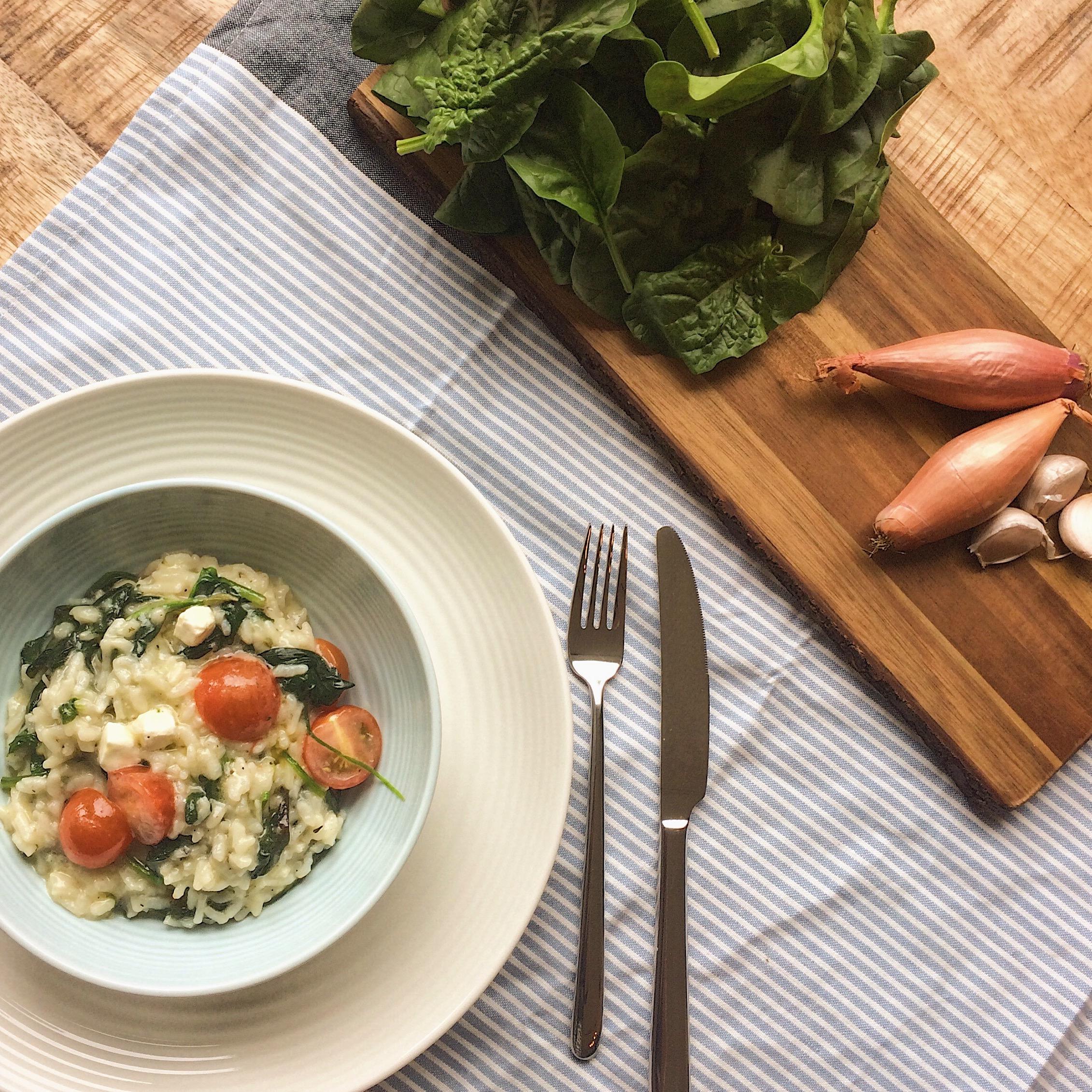 Risotto met spinazie – feta – tomaat