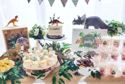 Dinosaur dessert table by The Baking Experiment