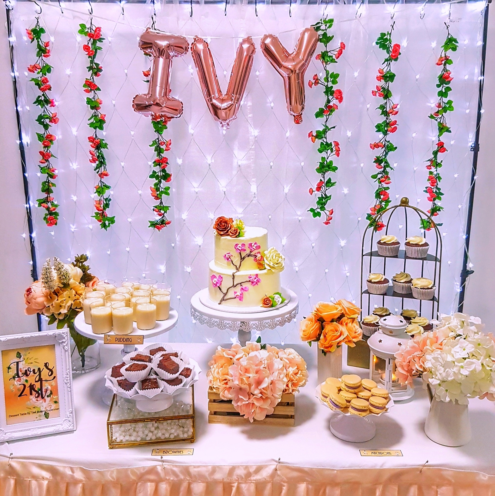 Rose Gold Floral Dessert Table by The Baking Experiment
