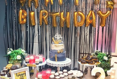 Black and Gold dessert table by The Baking Experiment