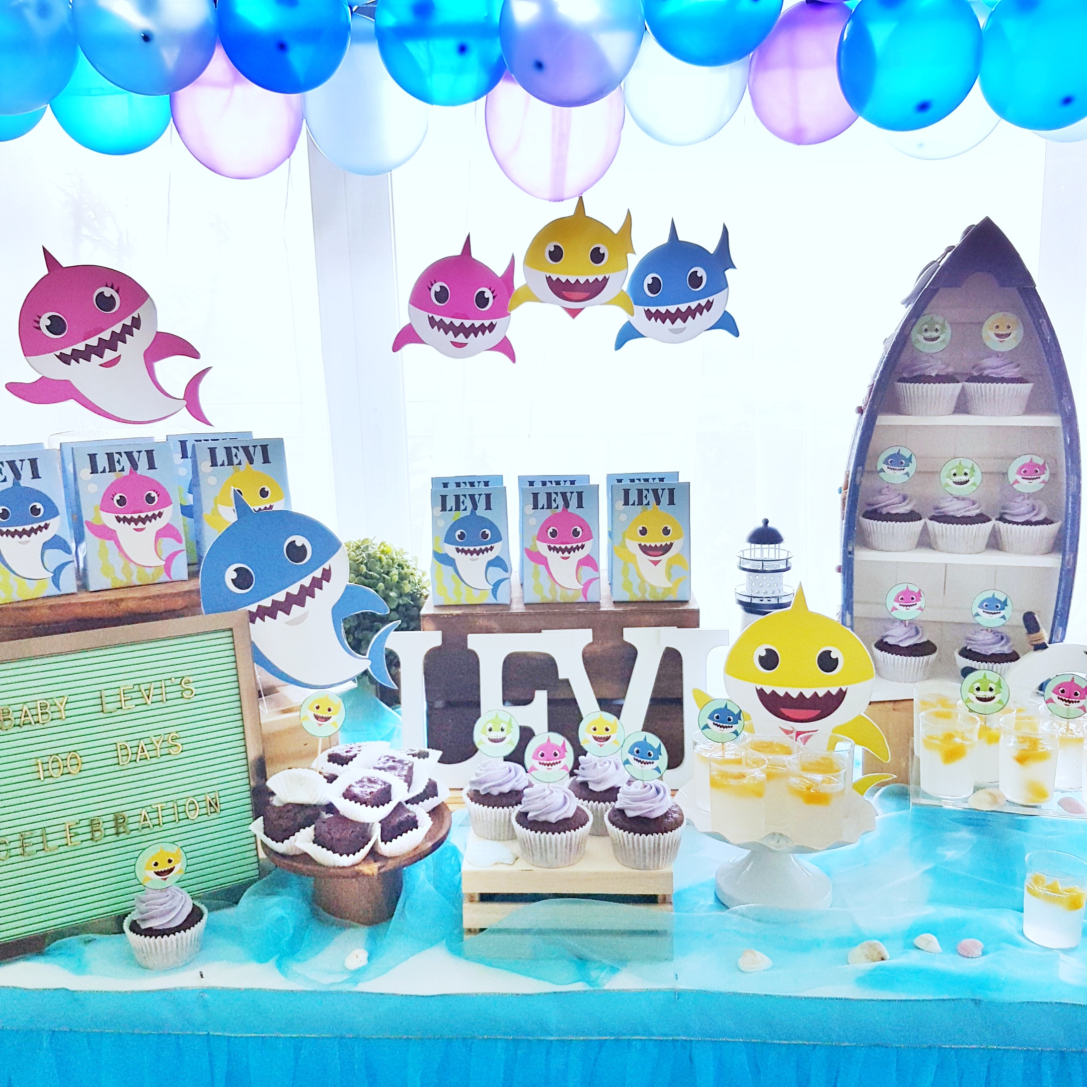 Baby Shark Dessert Table by The Baking Experiment
