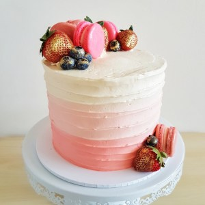 Fruits and Macarons Ombre Cake by The Baking Experiment