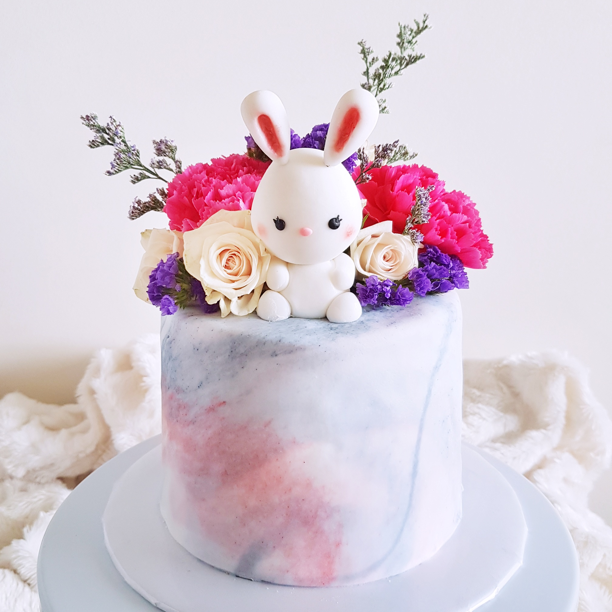 Floral Marbled Cake with Bunny
