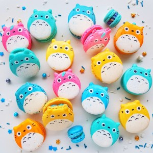 Multi-coloured Totoro Macarons by The Baking Experiment