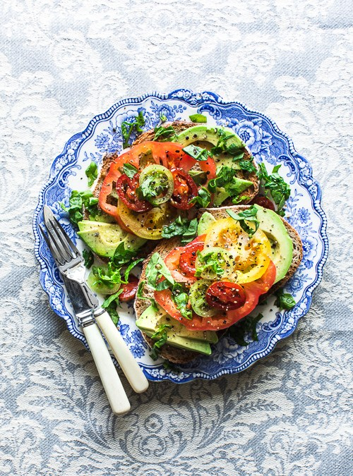 Heirloom Tomatoes with Avocado & Spinach on Sourdough