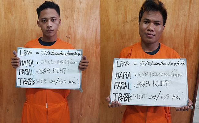 two young men arrested bars after phone snatchings in kuta