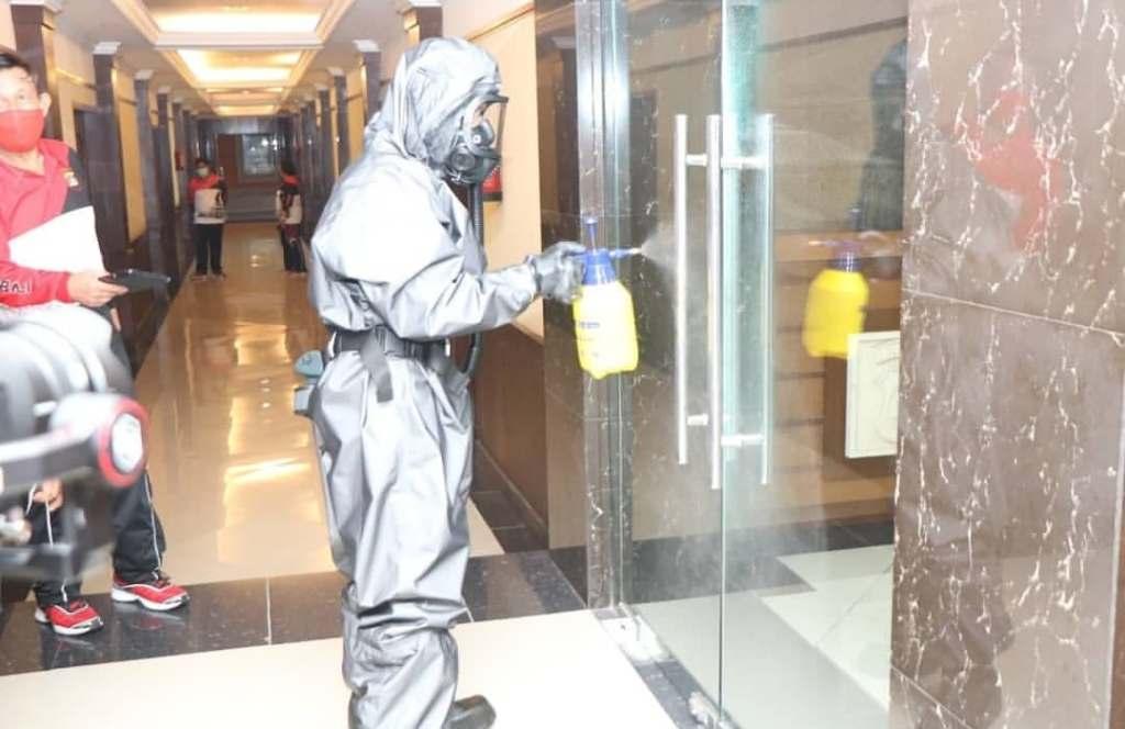 sanitizing doors in bali