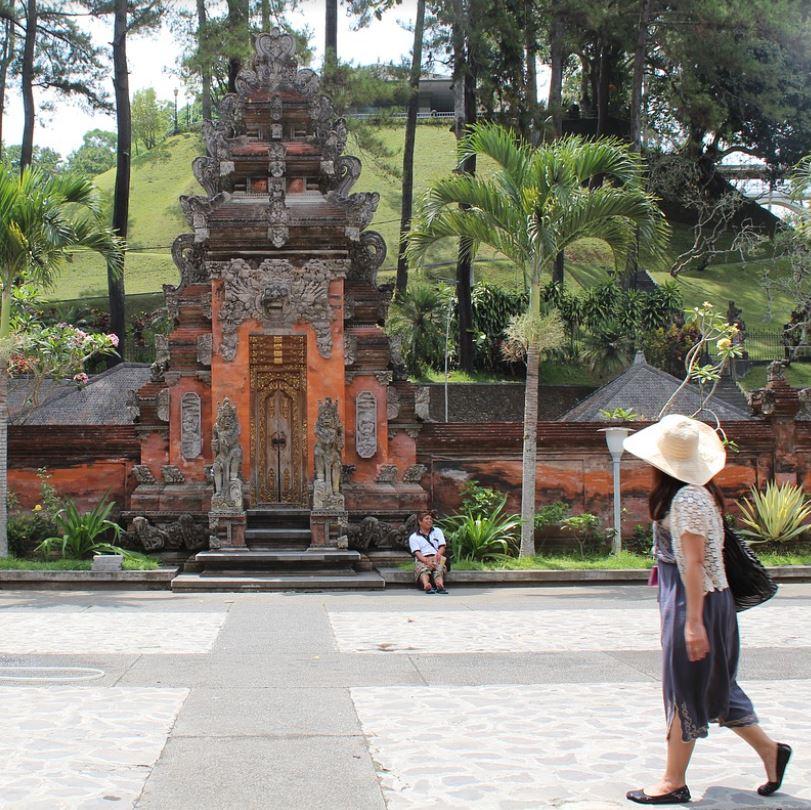 Tourist At Bali Temple