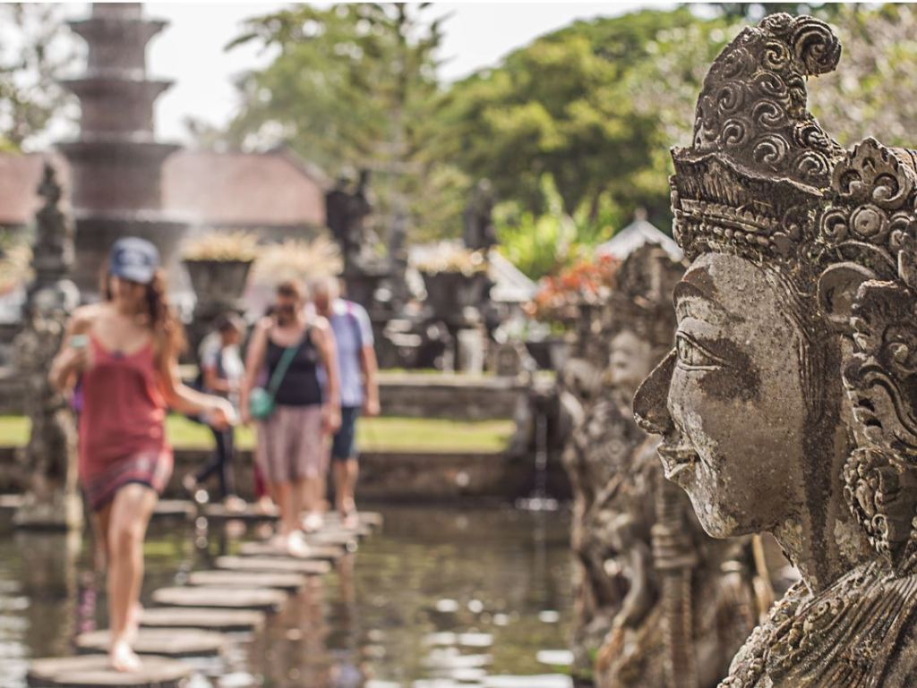 Tourists at Bali attraction