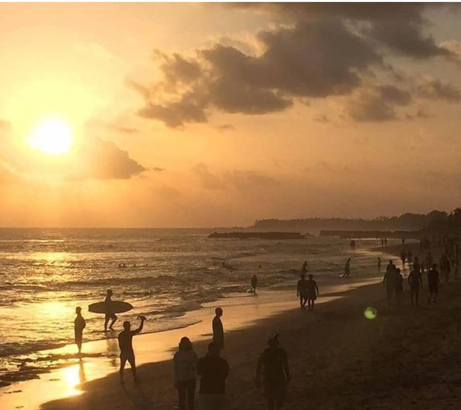 canggu beach at sunset full of people