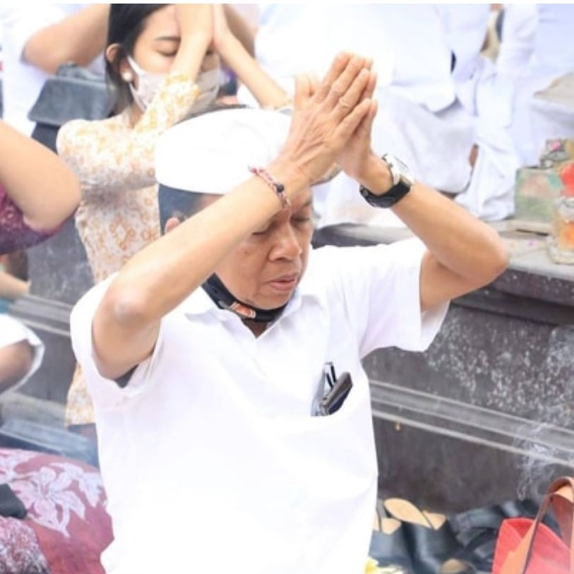 Bali Governor Wayan Koster prays for the success of Bali reopening its economy