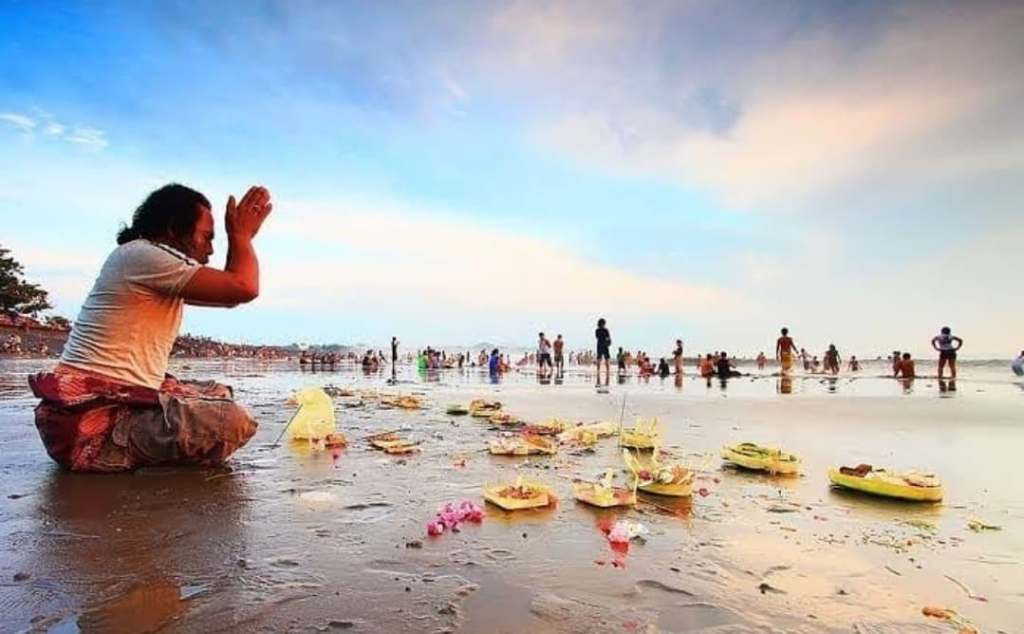 bali prayers on beach
