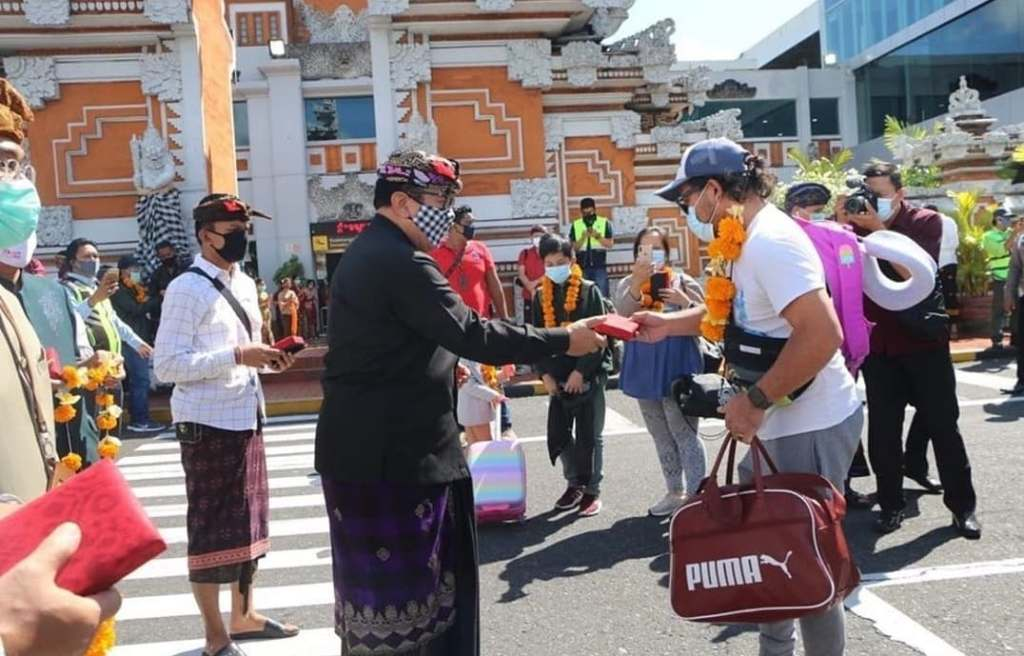 Airport arrivals in bali welcomed