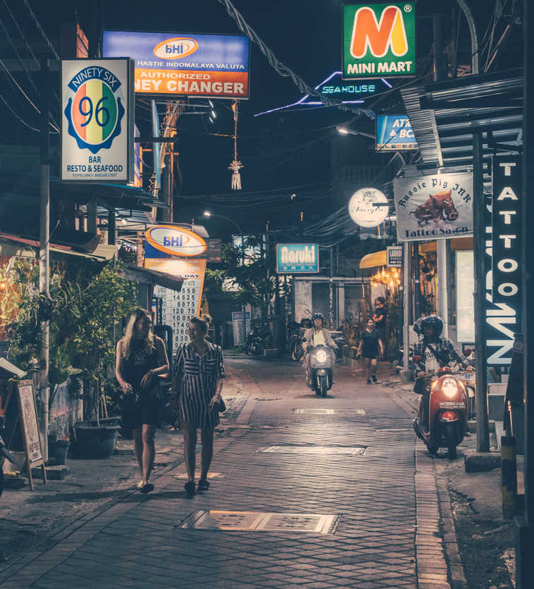bali street at night in kuta