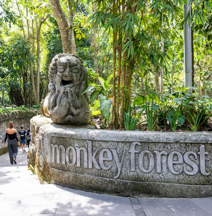 Ubud monkey forest sign