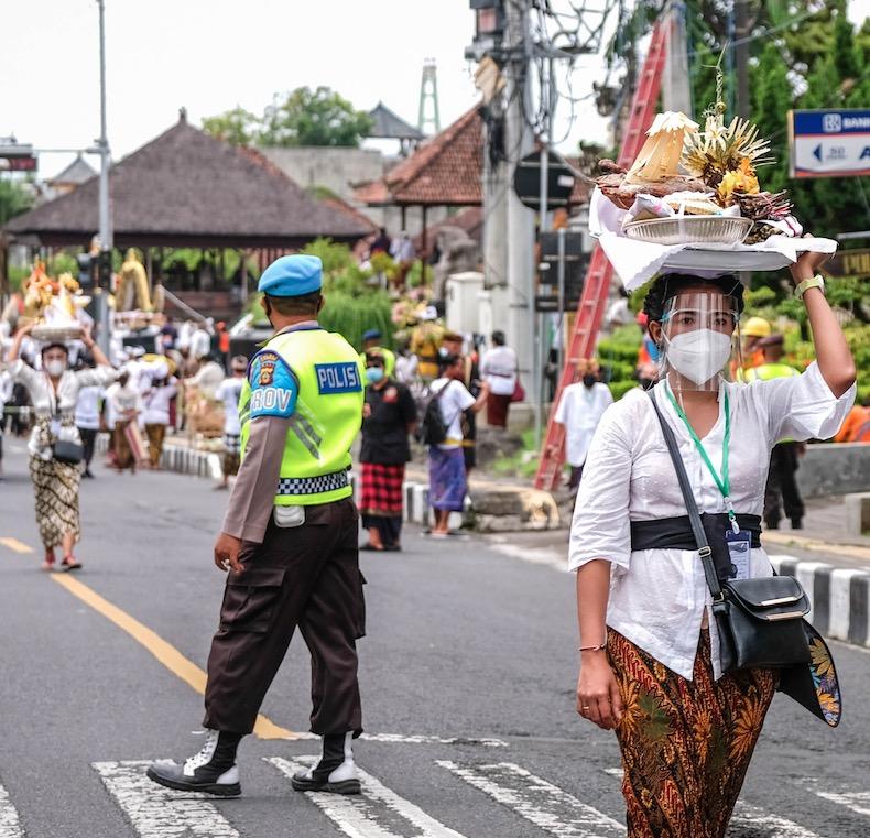 Bali locals police masks
