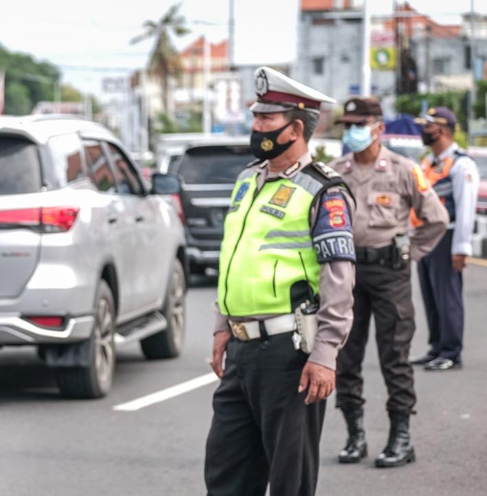 police patrol Bali traffic